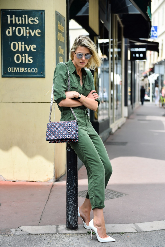 1.-military-jumpsuit-with-white-classic-pumps