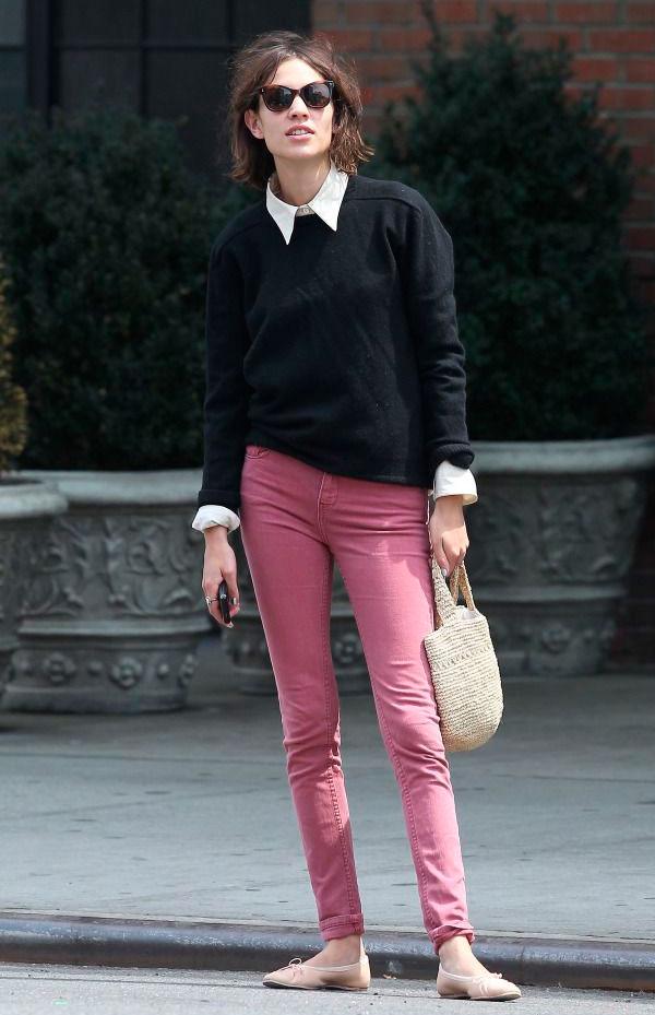 Alexa-Chung-Street-Style-Pink-Jeans-Street-Style