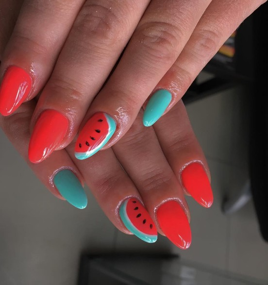 watermelon nails 3