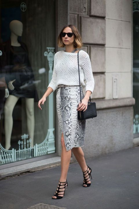 Pencil-Skirt-In-Snakeskin-And-Eyelet-Top