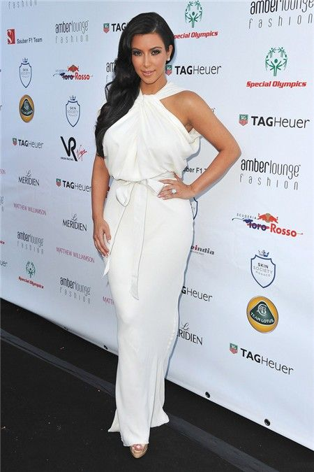 Fashion-Unusual-Long-kim-kardashian-white-dress-With-Sash_1