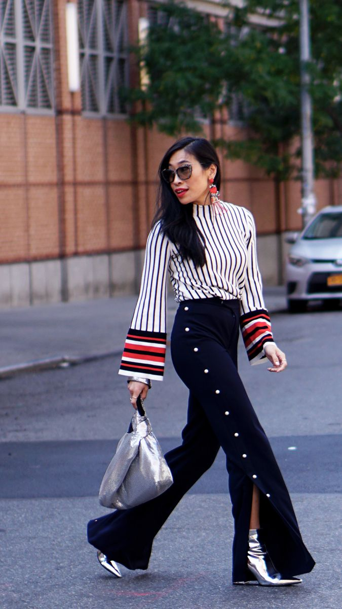 NYFW_Day_4_Outfit_Street_Style_Olivia_Palermo_Banana_Republic_Sports_Stripe_Top_Pearl_Embellished_Trousers_Silver_Fashion_Blogger_Best_StreetStyle_NYFW17