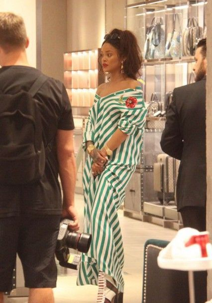 13wg6z-l-610x610-dress-shirt+dress-stripes-maxi+dress-rihanna-summer+dress-striped+dress-high+heels-bracelets-earrings-sunglasses-green-ring
