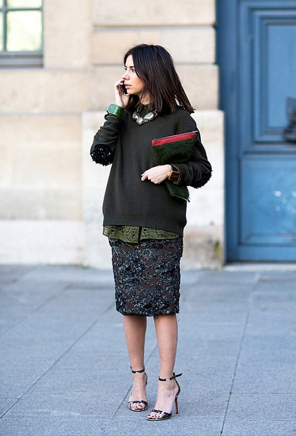 sweaters-and-skirts-sequins-sparkle-pencil-skirt-going-out-holiday-winter-oversized-sweater-army-green-hunter-green-statement-necklace-monochromatic-holiday-party-via-aloveisblind