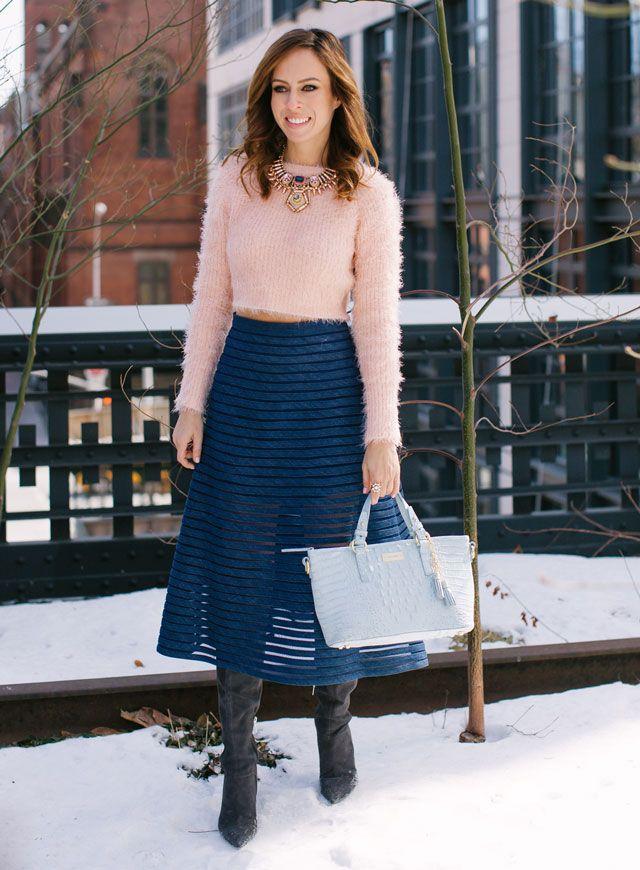 Sydne-Style-new-york-fashion-week-bloggers-denim-skirt-sheer-trend-fuzzy-sweater-crop-top-in-winter
