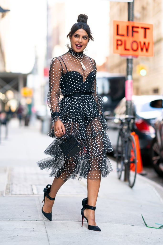Priyanka-Chopra-Sheer-Polka-Dot-Dress