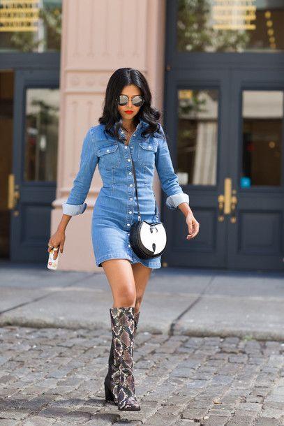 bdn4ar-l-610x610-walk+wonderland-blogger-denim+dress-knee+high+boots-snake+shoes