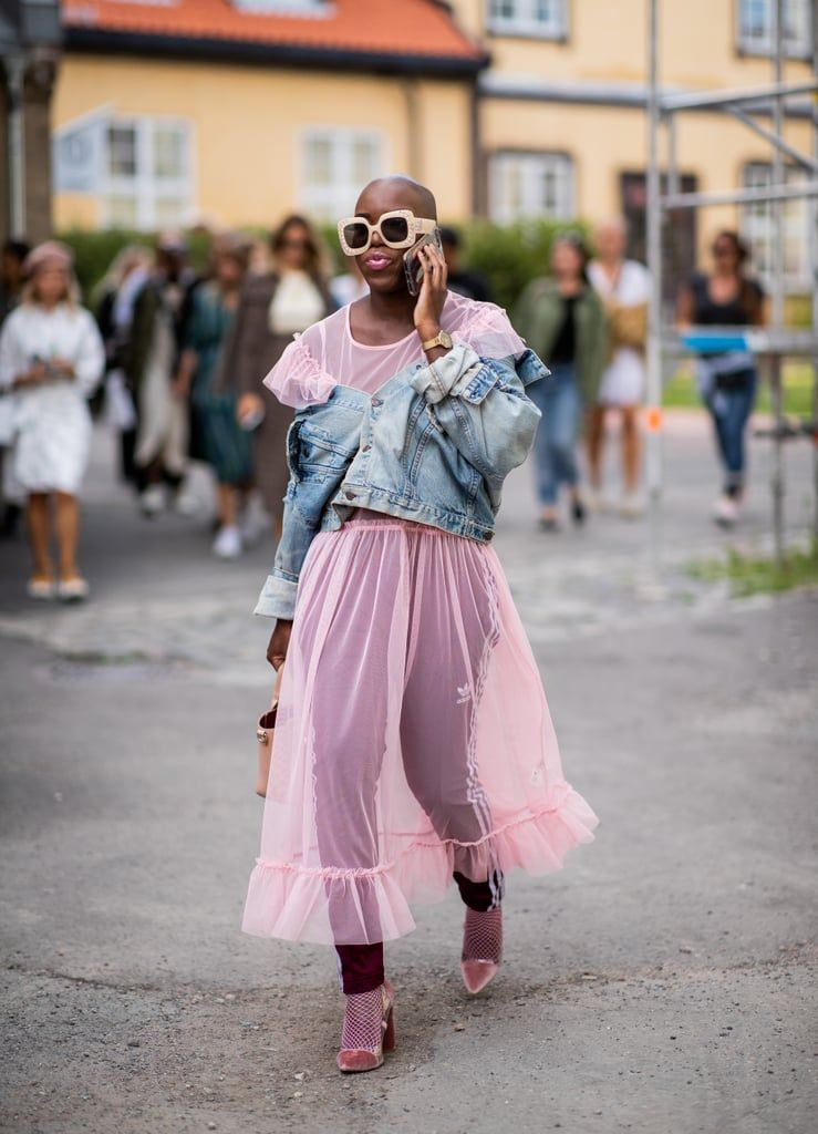Styling-pink-sheer-dress-denim-jacket